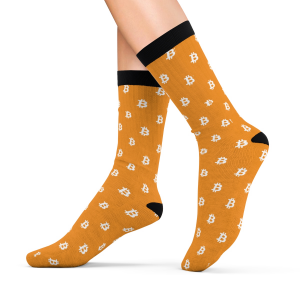 Bitcoin Symbol Pattern Orange Socks